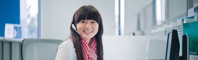 customer service centre agent on telephone